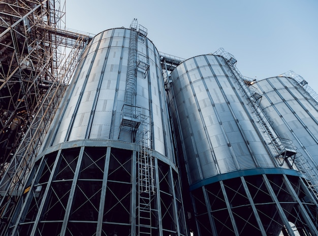Modern silos for storing grain harvest.