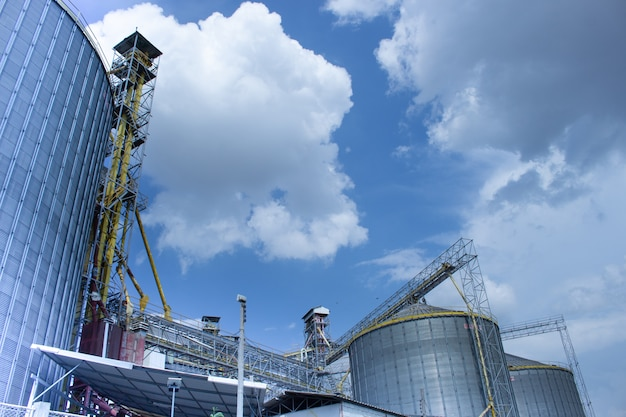 Modern silos for storing grain harvest.