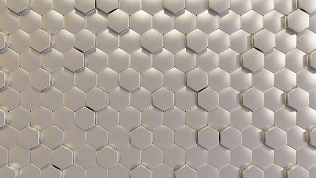 Modern silver hexagon tile wall in 3d