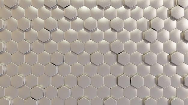 Modern silver hexagon tile wall in 3d