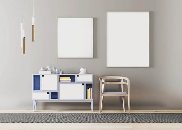 モダンなシンプルな屋内とポスターフレームディスプレイ