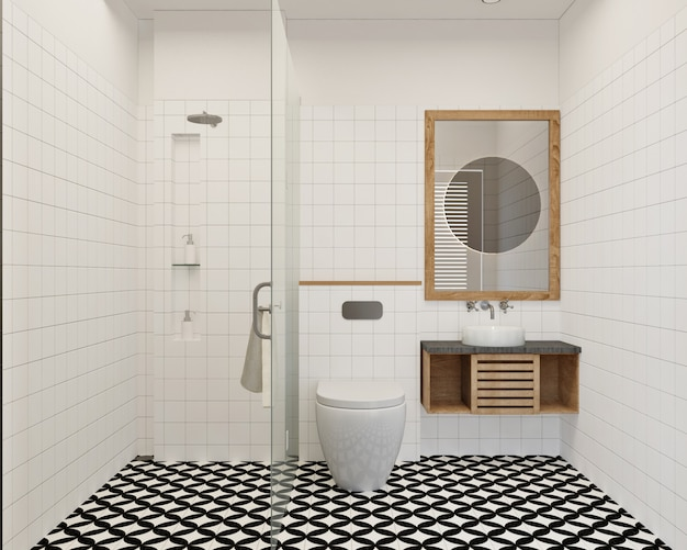 Modern and simple small bathroom design with wall tile and pattern floor