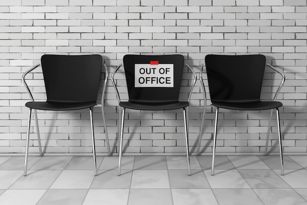Современные стулья simpne office с вывеской «нет в офисе» перед кирпичной стеной. 3d рендеринг