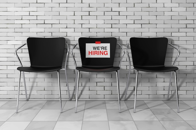Modern simpne office chairs one with we're hiring sign in front of brick wall. 3d rendering