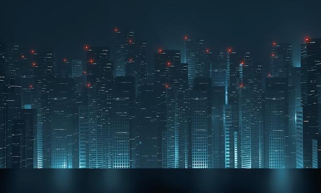 Современные небоскреб здания ночью с отражением на металлический пол.
