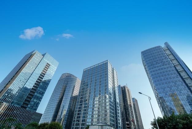 비즈니스 지구, 샤먼, 중국에 있는 현대적인 고층 빌딩.