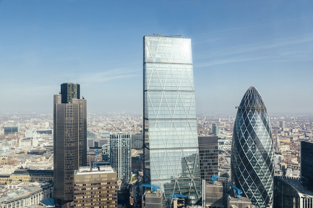 Modern skyscrapers in london city, aerial view