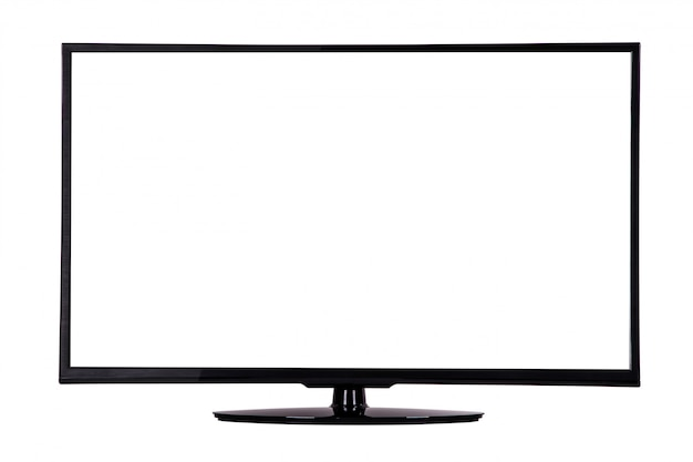 Modern slim plasma tv on a black stand isolated on white