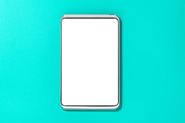 Modern smartphone on blue surface