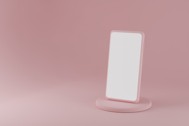 Современный смартфон на подиуме на розовом фоне d визуализации