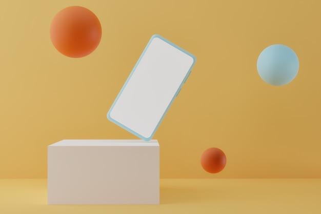 Современный смартфон на подиуме с летающими пузырями на пастельном фоне d визуализации