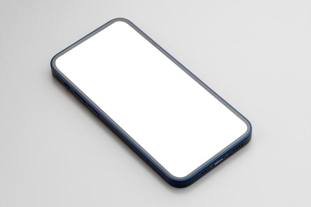 회색에 빈 흰색 화면이 현대 스마트 폰