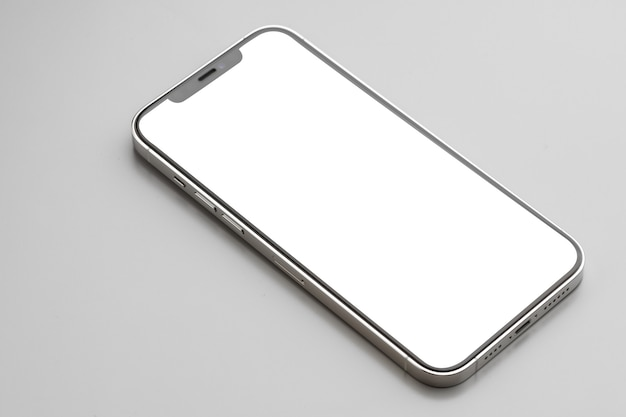 회색 표면에 흰색 화면이 현대 스마트 폰
