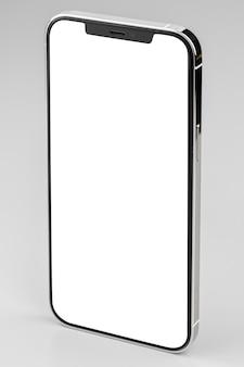 회색에 흰색 화면이있는 현대 스마트 폰