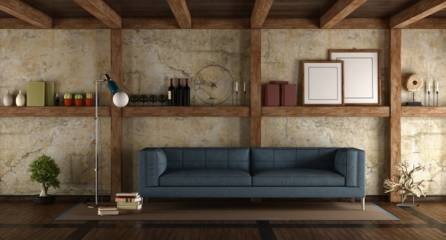 Современный диван в старой комнате