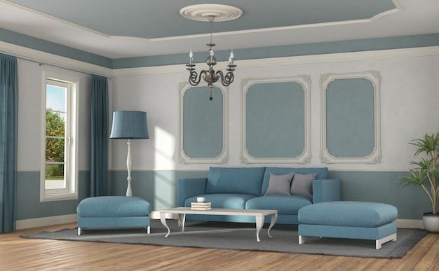 고전적인 스타일의 방에 현대 소파