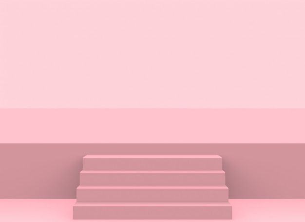 Modern soft pink color stair up to the stage background.