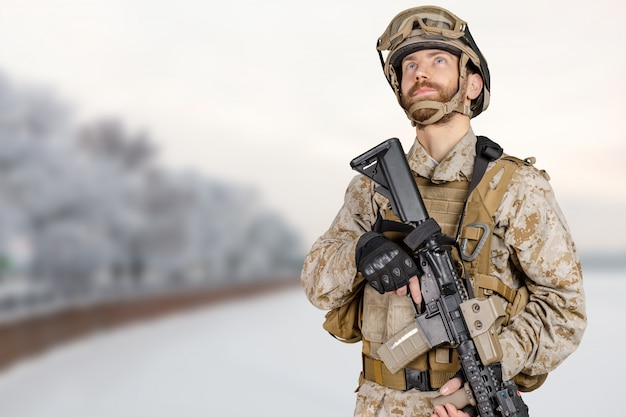 Modern soldier with rifle