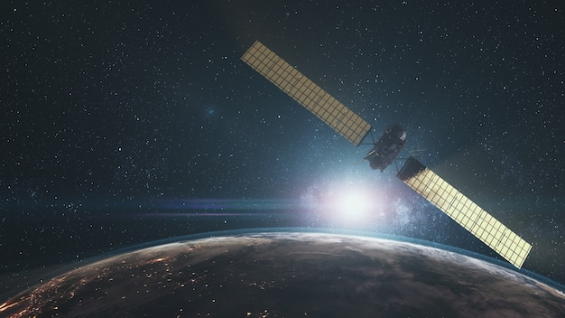 Modern space probe flying near rotating planet. rosetta over earth illuminated mainland in cosmos. sun rise skyline. 3d render animation. science technology. elements of this media furnished by nasa.