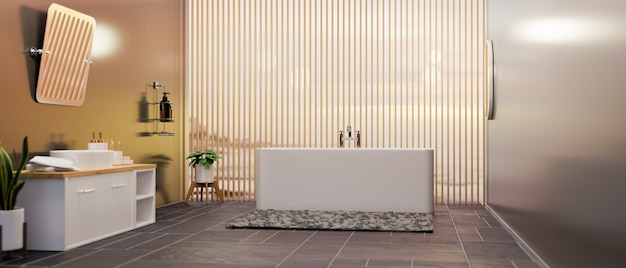 Modern spacious grey and wooden bathroom interior with luxury bathtubdecoration 3d rendering