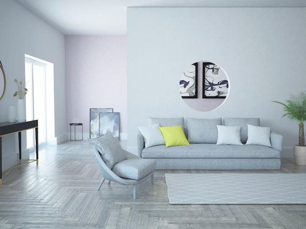 Modern spacious living room loft style