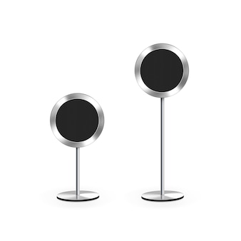 Modern speakers stand isolated on white.