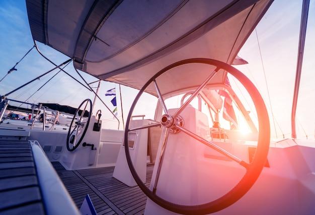 Modern speed boat yacht steering wheels.