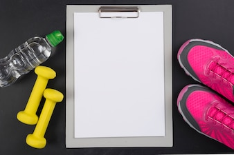 Modern sport composition with clipboard