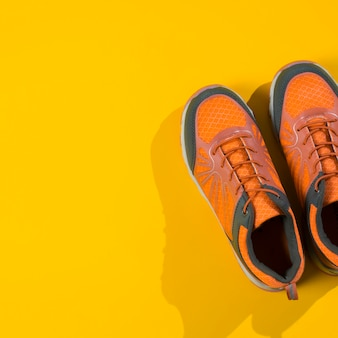 Modern sport composition with colorful trainers