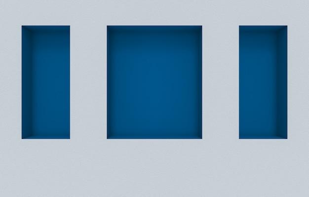 시멘트 벽 배경에 현대 사각형 모양의 파란색 구멍 상자 패턴.