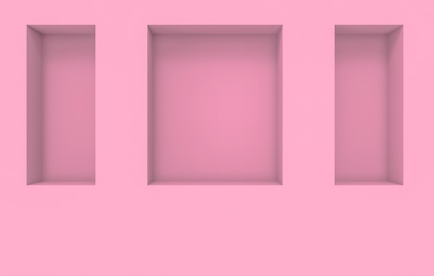 Modern square shape pink hole box pattern on cement wall background.