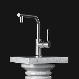 Современный кухонный водопроводный кран из нержавеющей стали, кран над мраморным пьедесталом, сценой, подиумом или колонной на черном фоне. 3d рендеринг