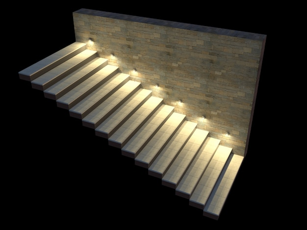 Modern staircase with backlit steps