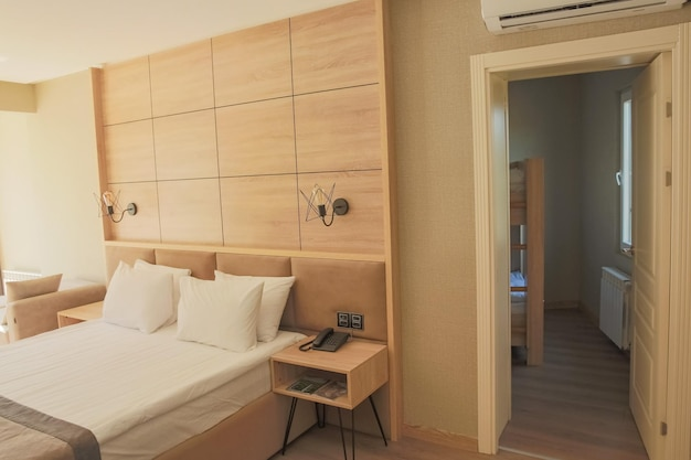 Modern studio apartment design with bedroom and living space