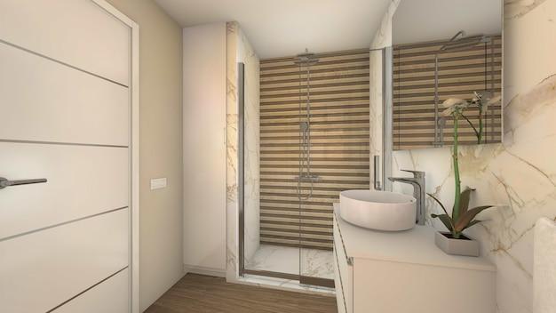Ванная комната в современном стиле с душем и раковиной