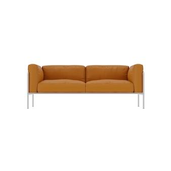 Коричневый кожаный диван в современном стиле с нержавеющими ножками 3d-рендеринг
