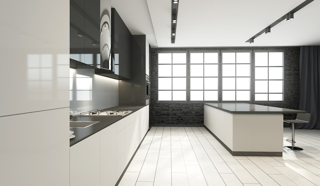 Modern style kitchen interior in black and white tones with big windows