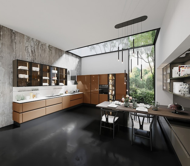 Modern style kitchen with orange kitchen cabinet, table and chair