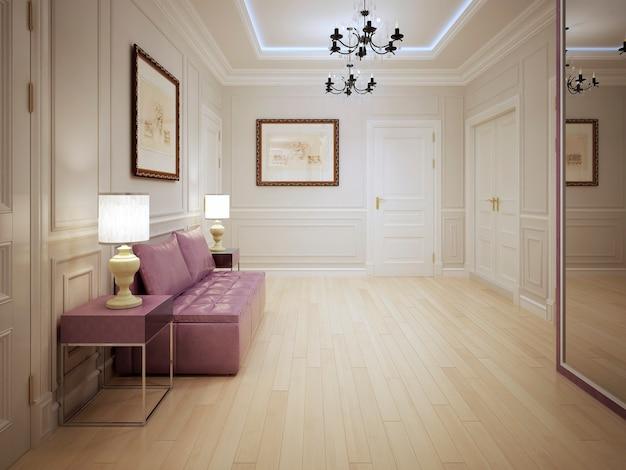 Прихожая в современном стиле с лепными стеновыми панелями и розовой мебелью.
