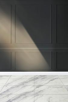 현대적인 스타일의 벽 모형과 흰색 대리석 바닥