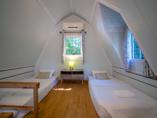 Modern styles of garret, a room under the roof.