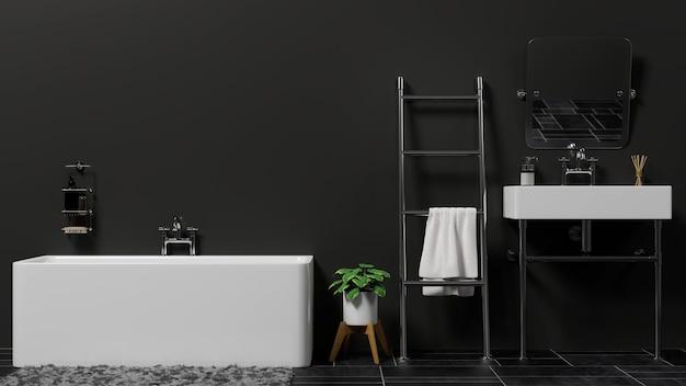 Modern and stylish bathroom interior with bathtub ladder washbasin in black wall 3d rendering