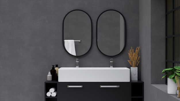 Modern stylish bathroom interior with two round mirror on grey wall and large ceramic sink