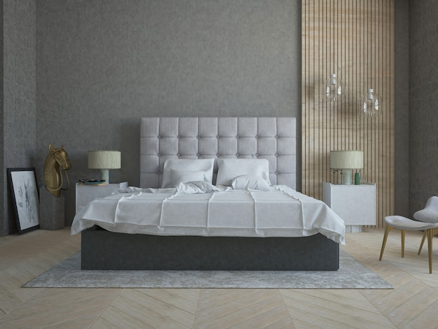 Modern stylish bedroom with concrete wall