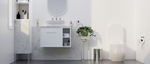 Modern stylish marble bathroom with toilet bowl vessel sink on white cabinet round mirror