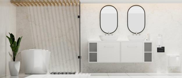 Modern stylish spacious bathroom with double round mirror and basin on cabinet bathtub