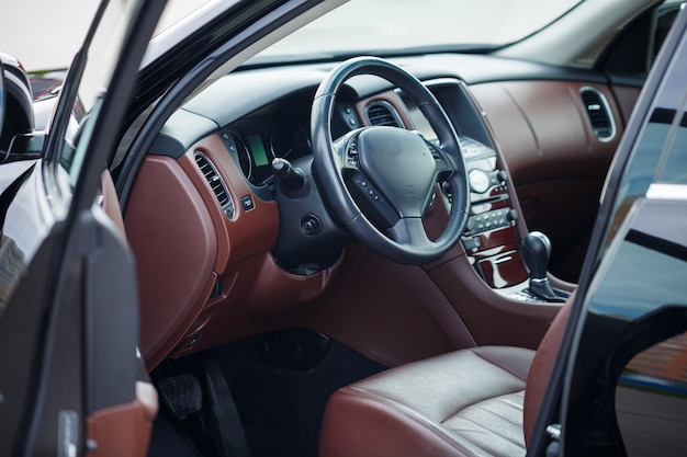 Modern suv interior with leather panel, multimedia and dashboard