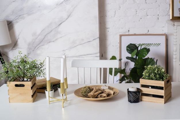 Modern table with green plant on loft home workplace of freelancer or designer