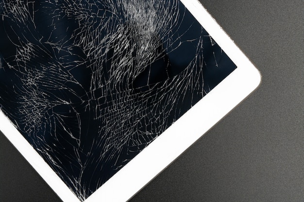 Modern tablet pc with highly broken screen