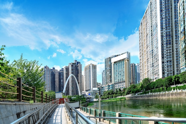 Modern tall buildings and bridge, guiyang city landscape, china.